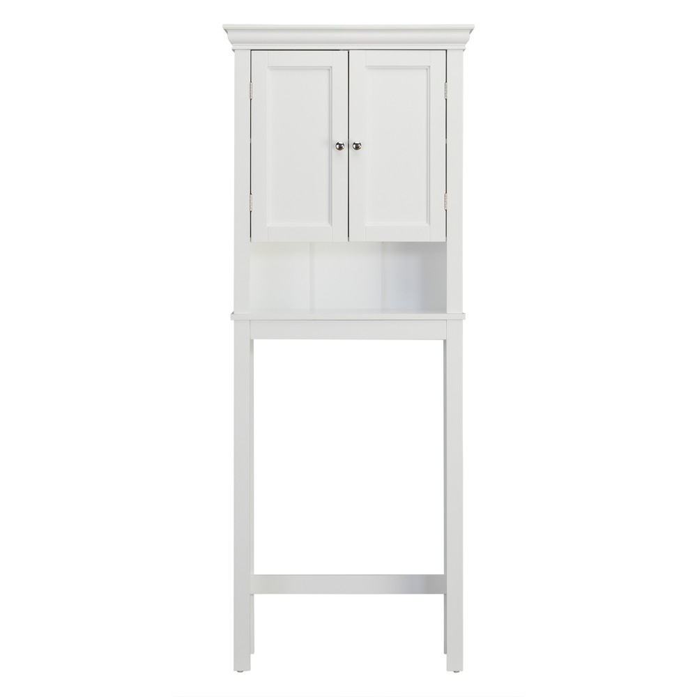 Bourbon Space Saver with Two Contemporary Doors and An Open Shelf Over The Toilet Etagere White - Elegant Home Fashions