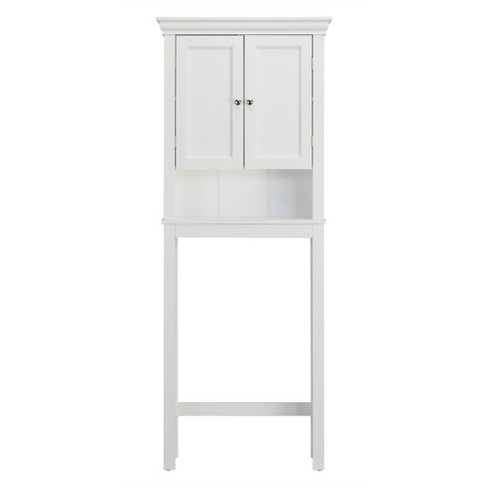 Bourbon Space Saver with Two Contemporary Doors and An Open Shelf Over The Toilet Etagere White - Elegant Home Fashions - image 1 of 4
