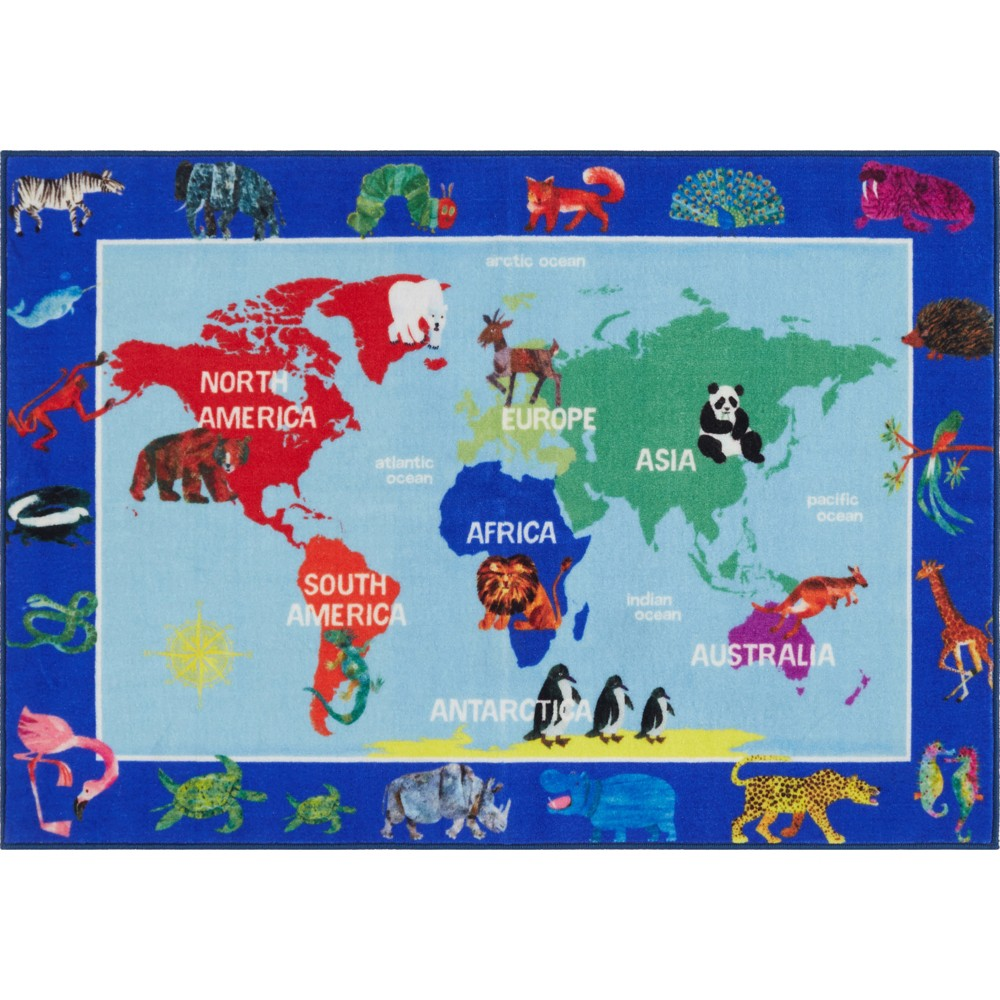 "Image of ""Eric Carle World Map Area Rug (2'9""""x4'3"""") - Home Dynamix, Multicolored"""