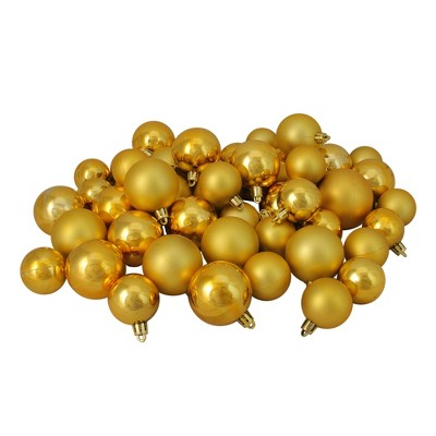 "Northlight 50ct Shatterproof Shiny and Matte Christmas Ball Ornament Set 2"" - Gold"