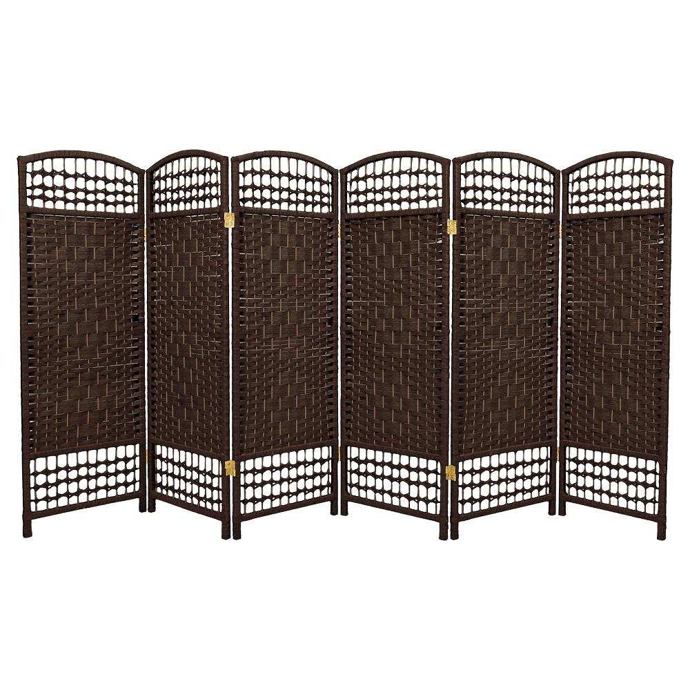 Image of 4 ft. Tall Fiber Weave Room Divider - Dark Mocha (6 Panels) - Oriental Furniture, Brown