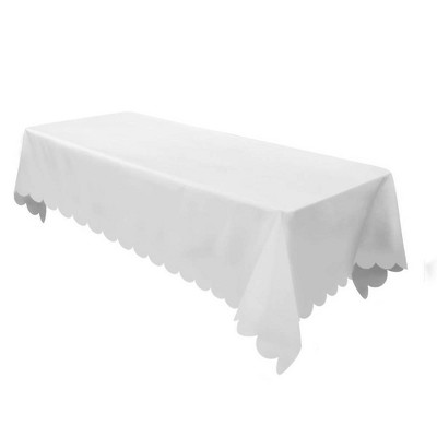 Beau White Non Woven Rectangular Table Cover With Scalloped Edges   Spritz™