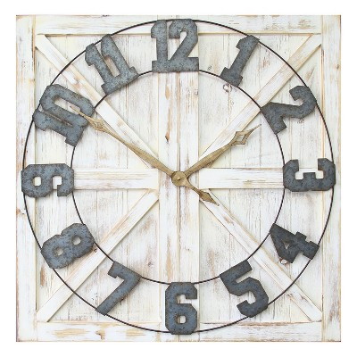 Stratton Home Decor S11545 Rustic Wood and Metal Farmhouse Mounted Wall Clock