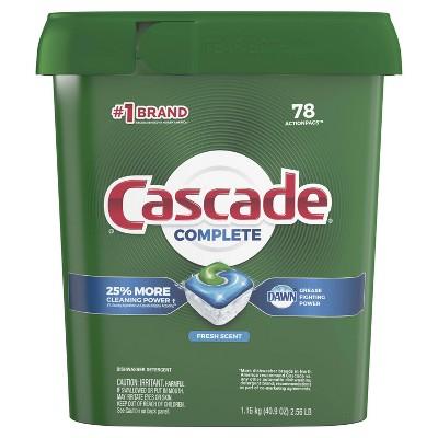 Cascade Complete ActionPacs Dishwasher Detergent - Fresh Scent - 78ct