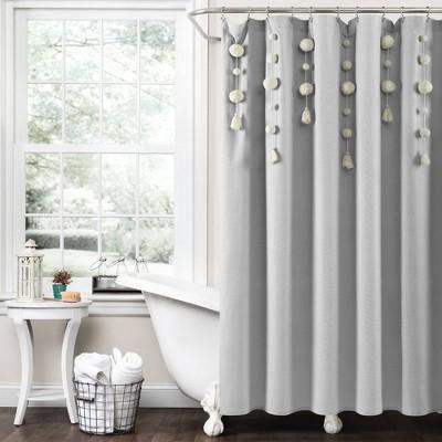 Boho Pom Pom Tassel Linen Single Shower Curtain - Lush Décor