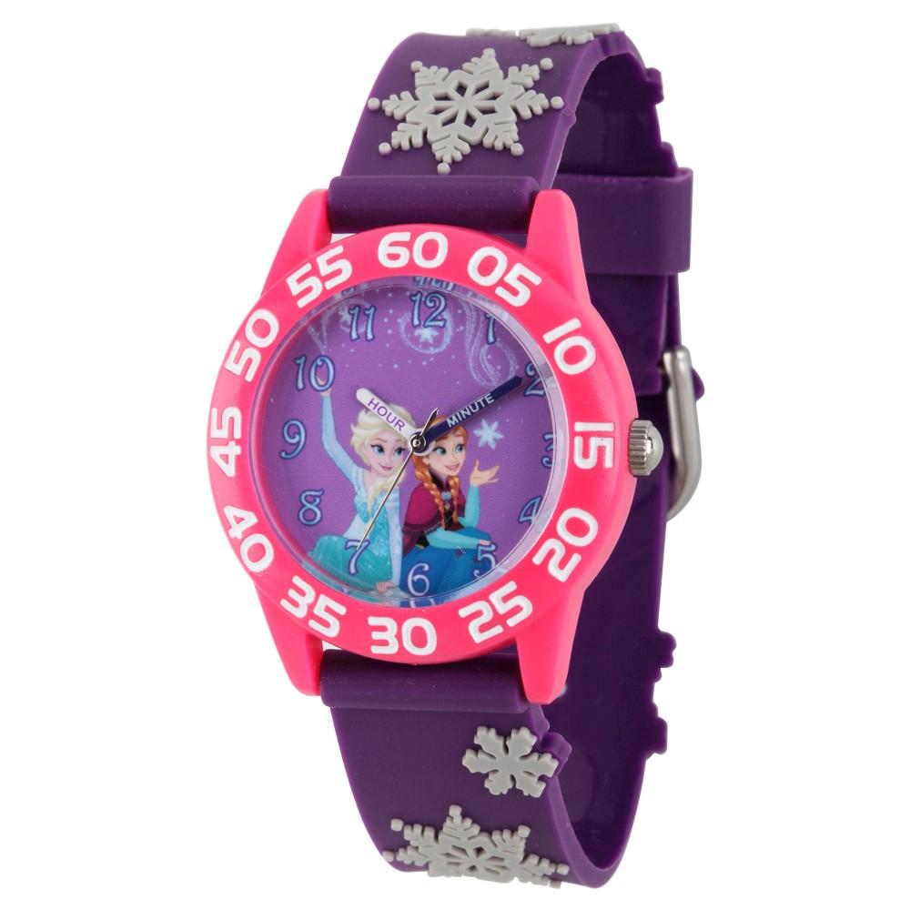 Image of Girls' Disney Frozen Elsa and Anna Pink Plastic Time Teacher Watch - Purple