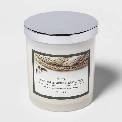 11oz Lidded Milky Glass Jar Soft Cashmere and Lavender Candle - Threshold™
