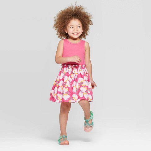 Toddler Girls' Floral Printed A-Line Dress - Cat & Jack™ Pink - image 1 of 3