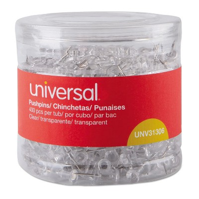 """UNIVERSAL Clear Push Pins Plastic 3/8"""" 400/Pack 31306"""