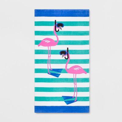 Stripe Scuba Flamingo Beach Towel - Sun Squad™
