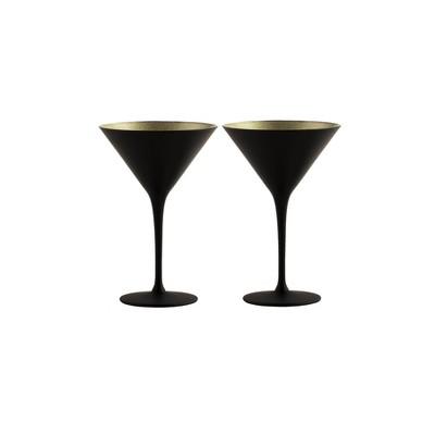 8oz 2pk Crystal Olympia Martini Glasses Black/Gold - Stoelzle
