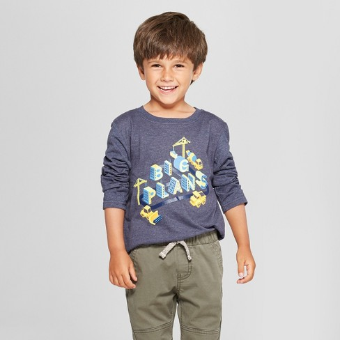 Toddler Boys' 'Big Plans' Graphic Long Sleeve T-Shirt - Cat & Jack™ Navy - image 1 of 3