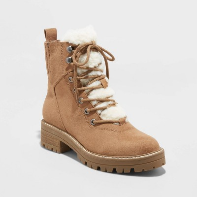 Women's Tessie Microsuede Sherpa Lace-Up Fashion Boots - Universal Thread™ Tan 6