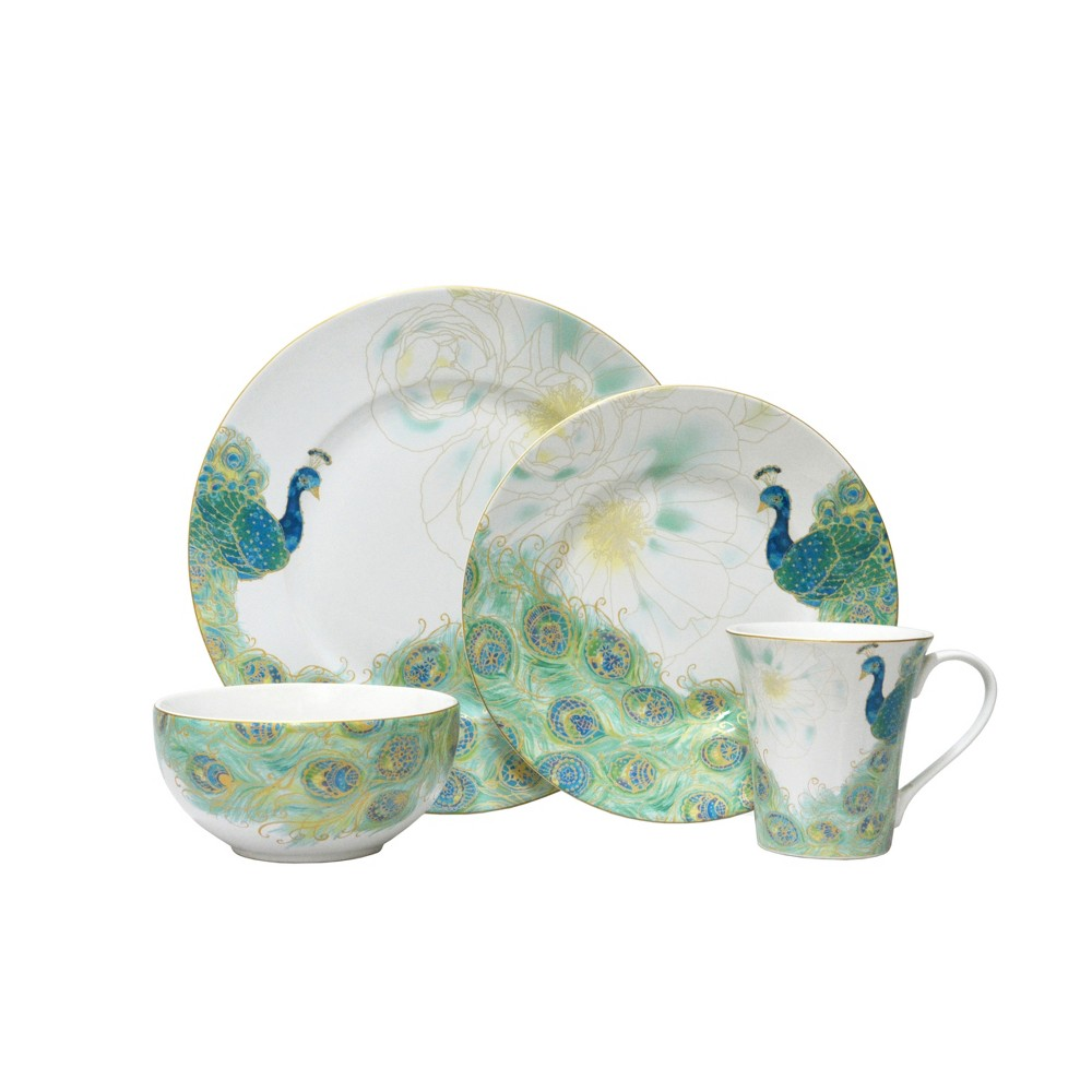 Image of 16pc Porcelain Lakshmi Dinnerware Set White/Green - 222 Fifth, Turquoise