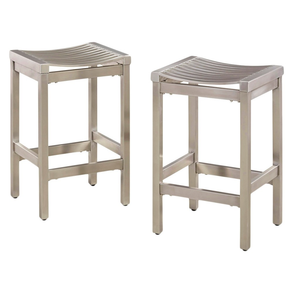 Image of Set of 2 Pair of Stainless Steel Stools Brushed Stainless - Home Styles