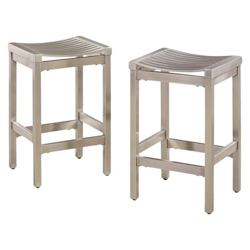 Set Of 2 Pair Of Stainless Steel Stools Brushed Stainless Home