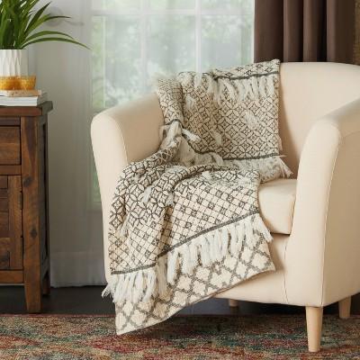 60 x50  Bohemian Fringe Stonewash Throw Blanket Natural - Mina Victory
