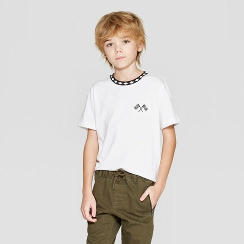 Boys' Short Sleeve Flag Logo T-Shirt - art class™ White S - image 1 of 3