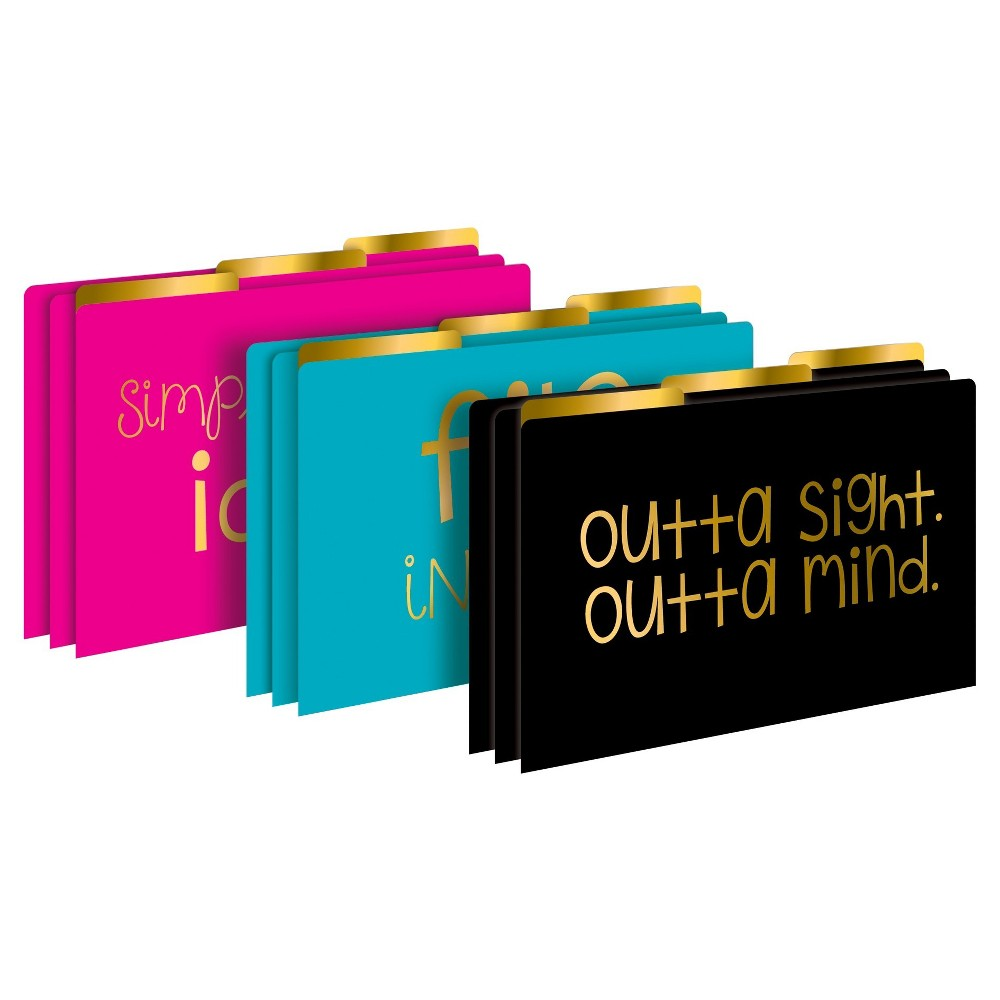 Barker Creek Legal File Folder Set 9ct - Pink, Turquoise, & Black with Gold Foil, Multi-Colored