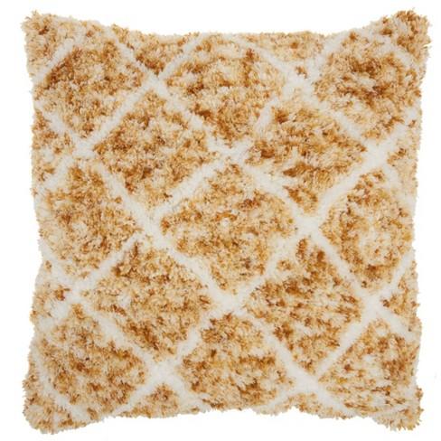 "24""x24"" Life Styles Sprinkle Dye Lattice Throw Pillow Mustard - Mina Victory - image 1 of 4"