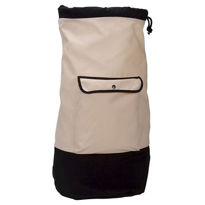 Household Essentials - Backpack Duffel Laundry Bag - Canvas - Drawstring - Cream/Black