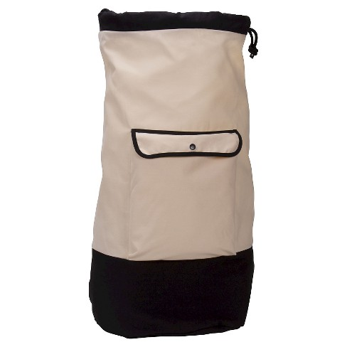 Household Essentials - Backpack Duffel Laundry Bag - Canvas - Drawstring - Cream/Black - image 1 of 4