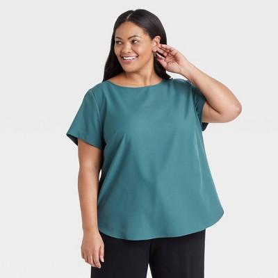 Women's Plus Size Short Sleeve Popover Blouse - Ava & Viv™