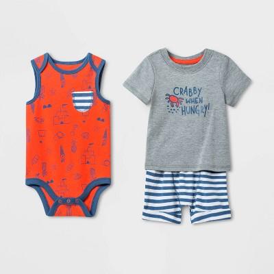 Baby Boys' 3pc Crabby Top & Bottom Set - Cat & Jack™ Orange 6-9M