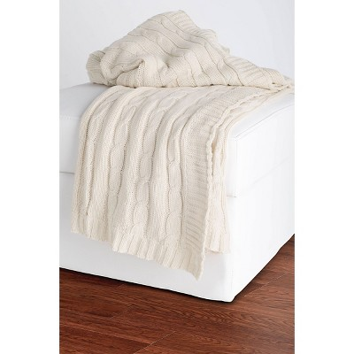 Cable Knit Throw Cream - Rizzy Home