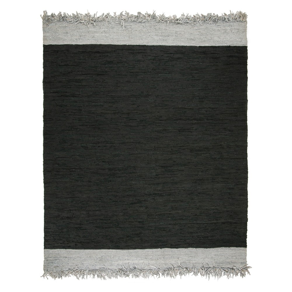8'X10' Solid Woven Area Rug Light Gray/Black - Safavieh