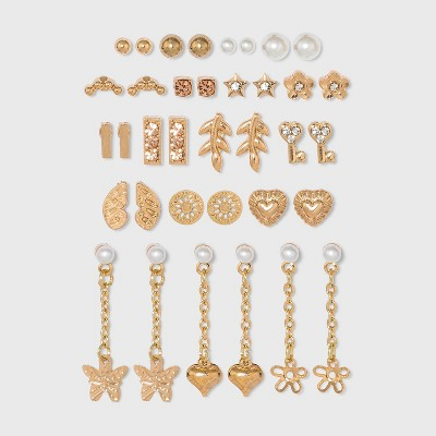 Flower, Heart and Butterfly Multi Stud Earring Set 18pc - Wild Fable™