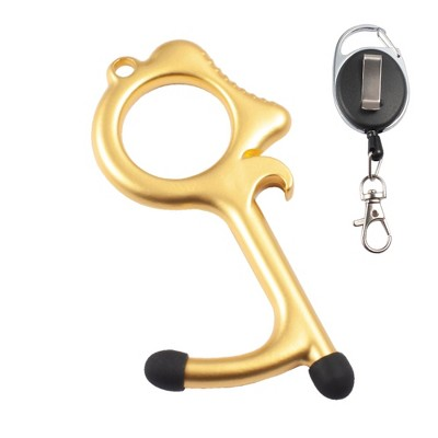 Zodaca Door Opener, 2 Stylus Ends Touchless Clean Key, Retractable Keychain Included (Gold)