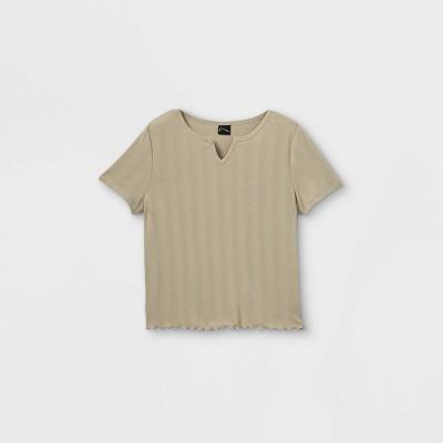 Girls' Short Sleeve Notch Neck T-Shirt - art class™