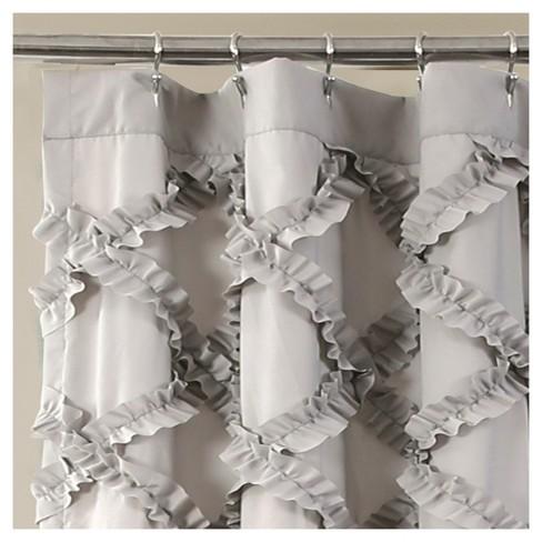 Shower Curtain Ruffle Diamond Gray