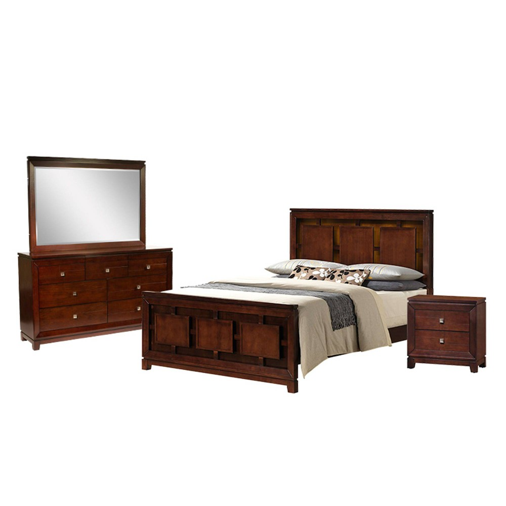 4pc King Easton Panel Bedroom Set Cherry - Picket House Furnishings, Red
