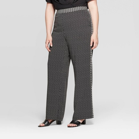Women's Plus Size Mid-Rise Relaxed Trousers - Who What Wear™ Black - image 1 of 3