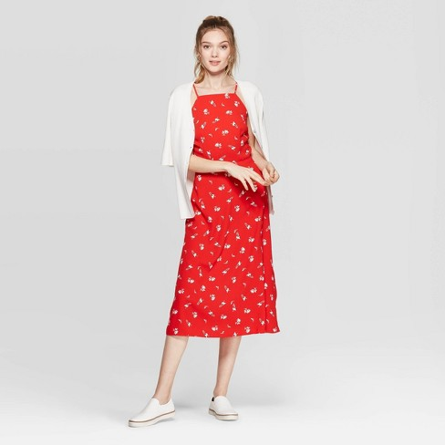 c2a1b7b5c824d Women's Floral Print Sleeveless Strappy Midi Dress - A New Day™ Red