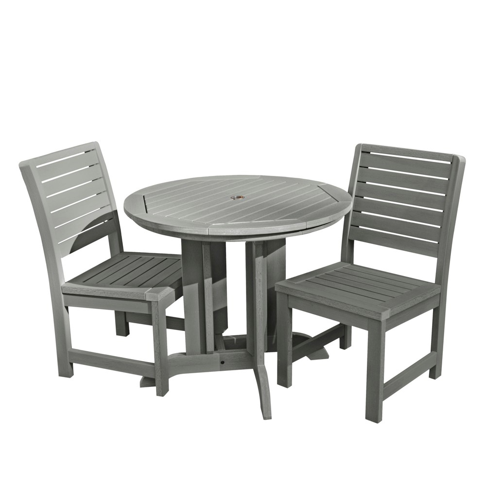 Weatherly 3pc Round Dining Set Coastal Teak Gray- Highwood, Coastal Teak Gray