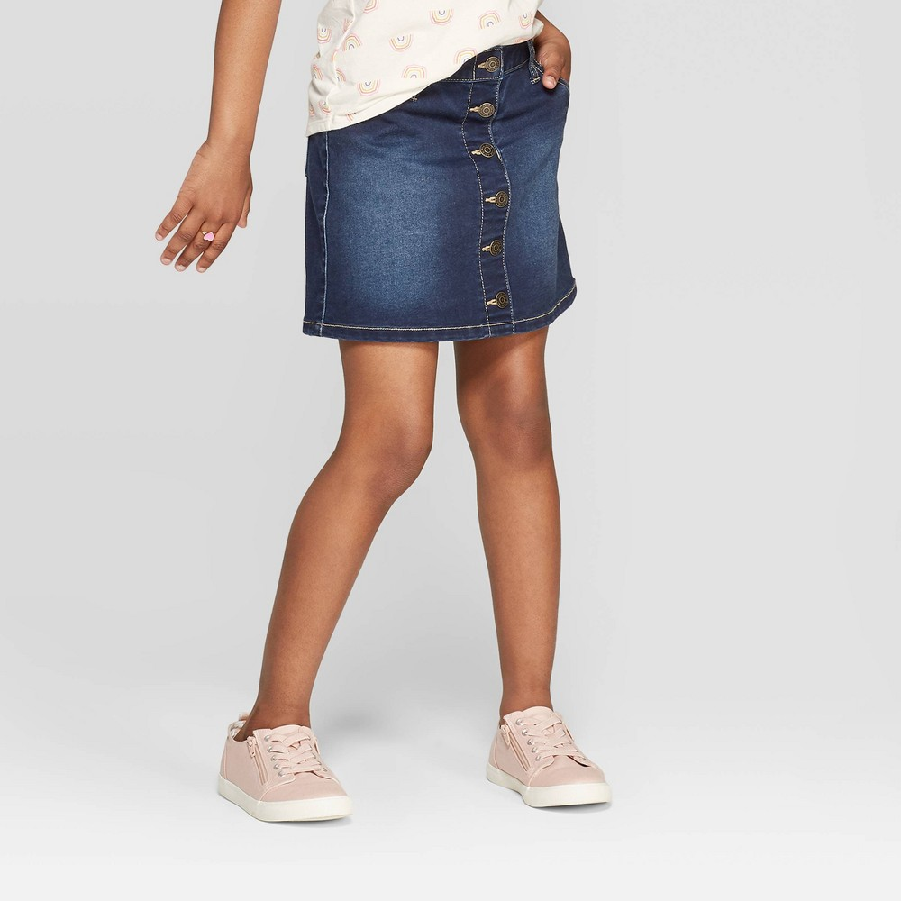 Image of Girls' Button Front Jean Skirt - Cat & Jack Dark Wash L, Girl's, Size: Large, Blue