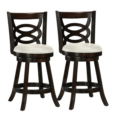 Set of 2 Counter And Bar Stools Dark Cappuccino White - CorLiving
