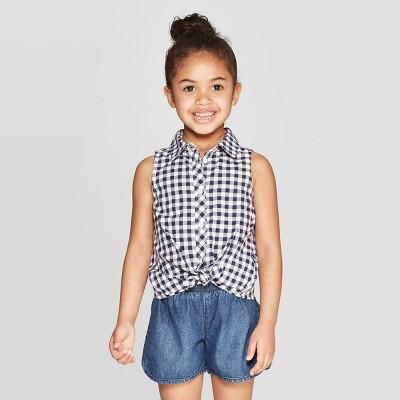 Toddler Girls' Sleeveless Button-Down Shirt - Cat & Jack™ White/Navy 12M