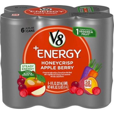 V8 +Energy Honeycrisp Apple Berry - 6pk/8 fl oz Cans