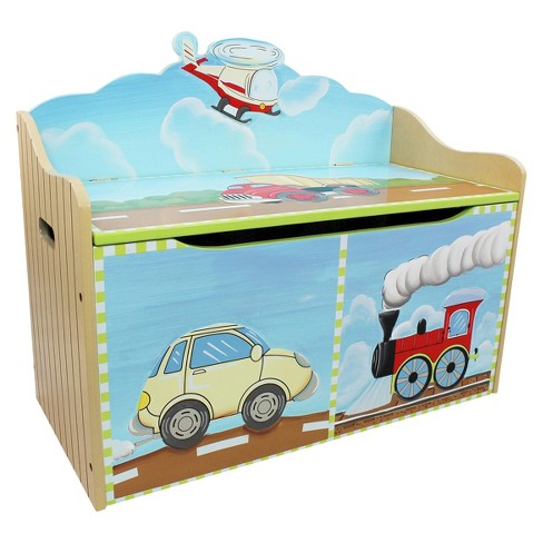 Fantasy Fields Transportation Toy Chest Wood - Teamson - image 1 of 7
