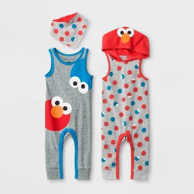 Baby Boys' Isaac Mizrahi x Sesame Street 2pk Elmo and Cookie Monster Rompers - Newborn
