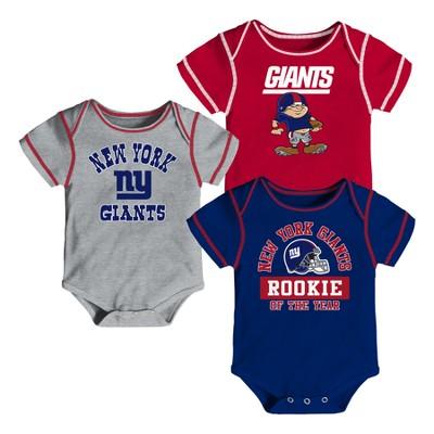 New York Giants Boys' Newest Fan 3pk Bodysuit Set 3-6 M