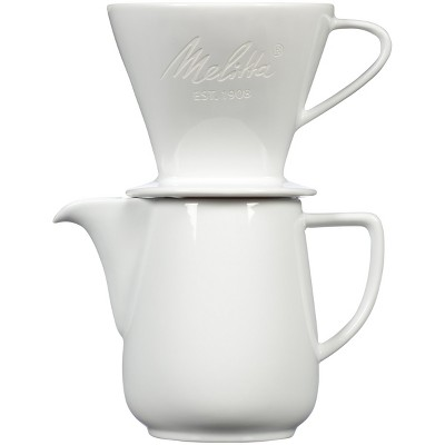 Melitta Porcelain Pour-Over Carafe Set with Cone Brewer and Carafe - White