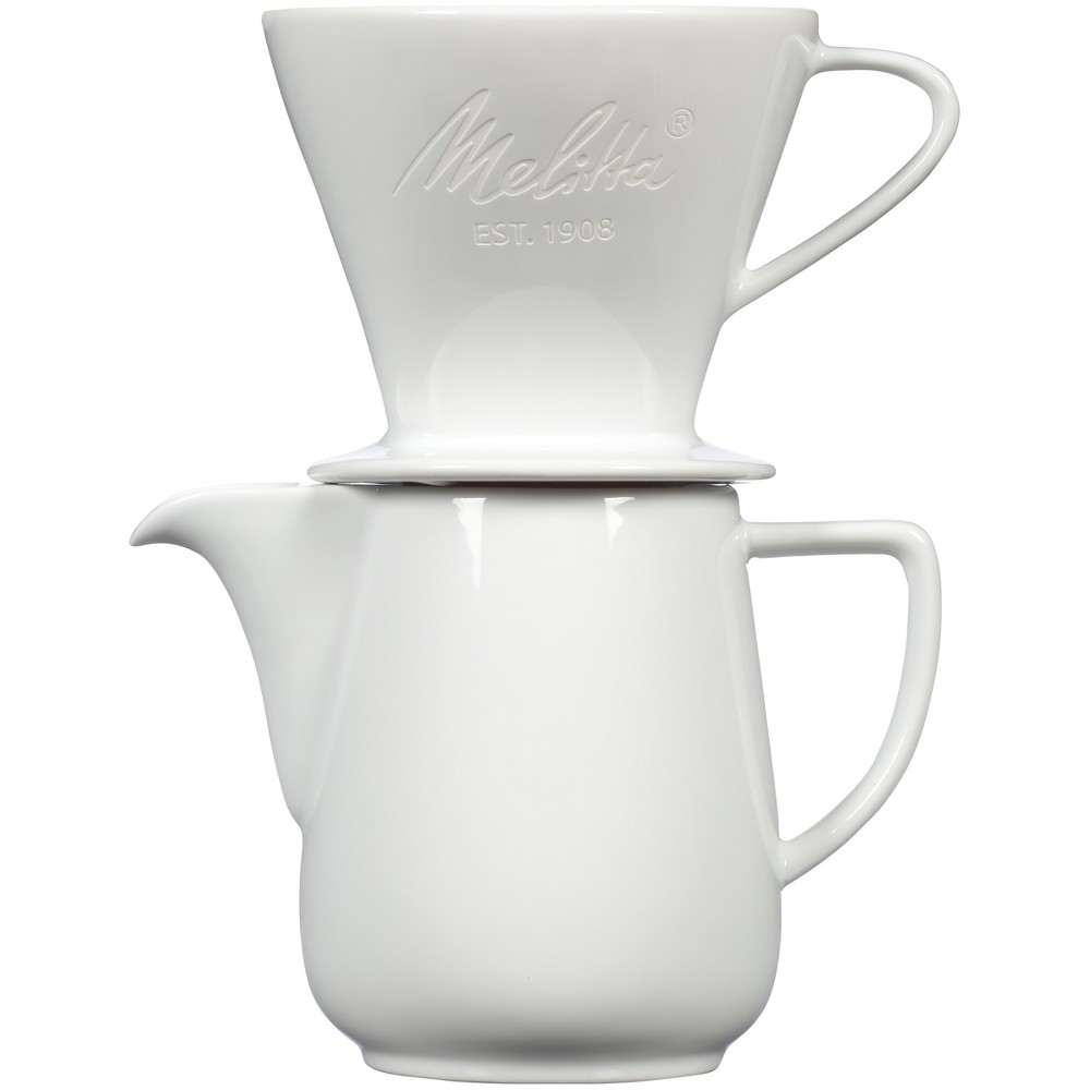 Melitta Porcelain Pour-Over Carafe Set with Cone Brewer and Carafe – White 53919725