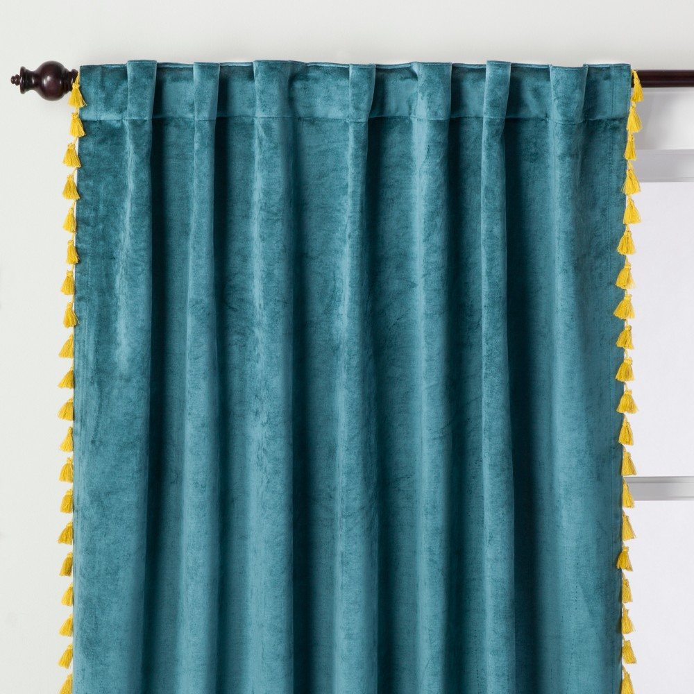 Velvet Curtain Panel with Yellow Tassels Teal Green 95 - Opalhouse