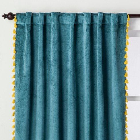 Velvet Curtain Panel With Yellow Tels Teal Green 63 Opalhouse