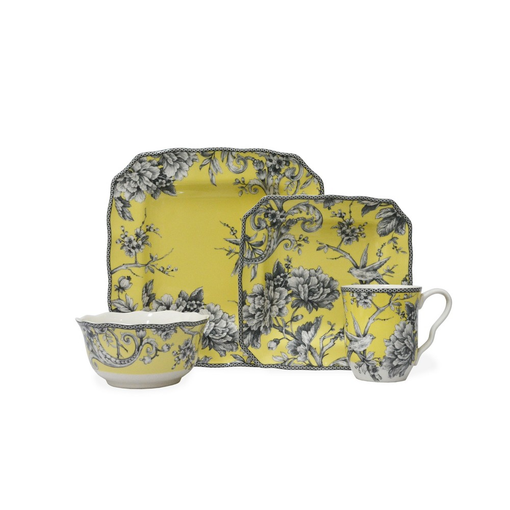 Image of 16pc Porcelain Adelaide Dinnerware Set Yellow - 222 Fifth
